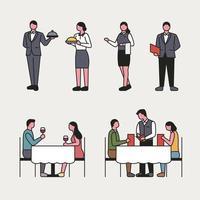 Conjunto de caracteres de restaurante vetor