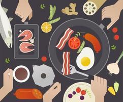 Vista superior de pessoas cozinhando