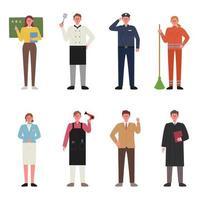 Conjunto de caracteres vestindo uniformes vetor