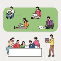 Alunos no campus estudando
