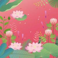 Folhas tropicais e design de plano de fundo de flor de lótus vetor