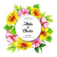 Cartão de convite de casamento floral aquarela vetor