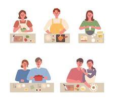 Pessoas cozinhando pratos diferentes