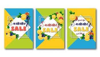 Panfletos de venda verão conjunto com frutas coloridas brilhantes