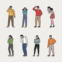 Conjunto de pessoas usando máscaras.