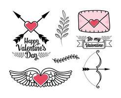 conjunto de coração com asas, cartão de amor e outros elementos do dia dos namorados vetor