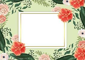 cartão com rosas e galhos exóticos e folhas no fundo