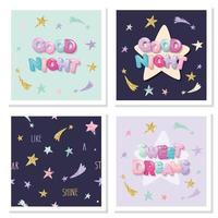 Conjunto de elementos de letras bonitos de bons sonhos