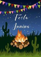 Cartaz de festa junina com fogueira vetor