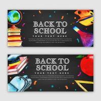 Conjunto de volta à escola Banner vetor