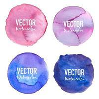 Conjunto aquarela círculo roxo azul violeta vetor
