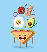 pão triângulo feliz e delicioso café da manhã vetor