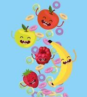 maçãs felizes com morango e amora com cereais vetor