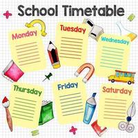 Horário de gráfico de volta às aulas vetor