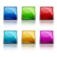 Conjunto de botton de vidro quadrado colorido vetor
