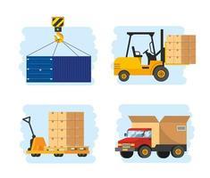 conjunto de serviço de entrega com transporte de empilhadeira e caminhão