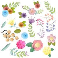Conjunto de flores de papel ofício em cores brilhantes do outono