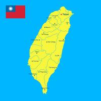 Mapa de Taiwan e vetor de bandeira