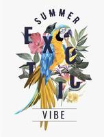 slogan exótico de verão com pássaro arara na floresta exótica vetor