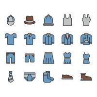 Roupas e acessórios relacionados ao conjunto de ícones