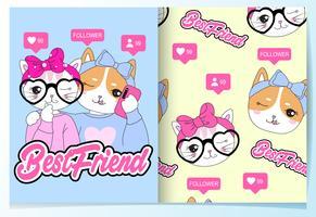 Gatos de melhor amigo bonito mão desenhada com conjunto padrão vetor