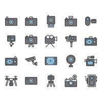 Conjunto de ícones relacionados à câmera