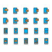 Conjunto de ícones de aplicativos móveis vetor