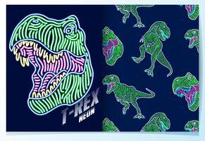 Dinossauro desenhado de mão com conjunto de luz de neon padrão vetor
