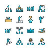 Conjunto de ícones de liderança de negócios