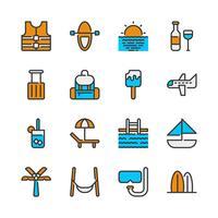 Conjunto de ícones de verão e férias vetor