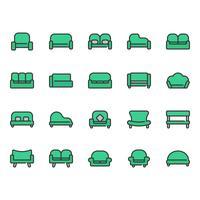 Conjunto de ícones de sofá e assento vetor