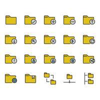Conjunto de ícones relacionados a pastas vetor