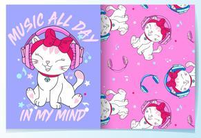 Mão desenhada gato bonito ouvindo música com conjunto de padrões vetor