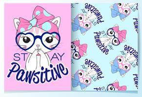 Mão desenhada gato bonito usando óculos com conjunto de padrões vetor