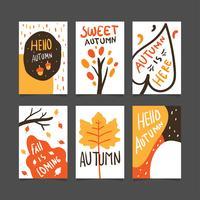 Coleção de pôster ou cartão de outono vetor