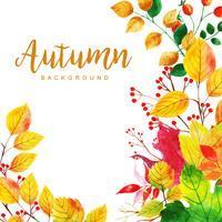 Fundo de folhas de outono em aquarela vetor