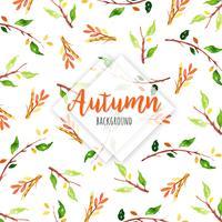 Ramo de aquarela de outono e fundo de folhas