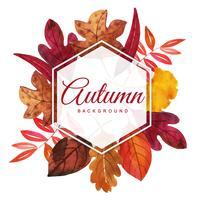 Quadro bonito de folhas de outono em aquarela vetor