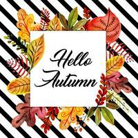 Quadro de folhas de outono em aquarela com fundo preto listras