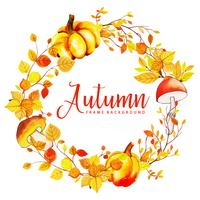 Coroa de folhas de outono em aquarela bonita vetor