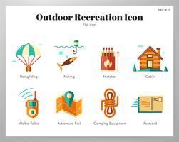 Pacote plano de ícones de recreação ao ar livre vetor