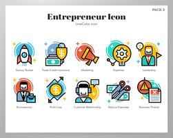 Ícones do empreendedor LineColor pack vetor