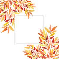 Quadro de folhas de outono em aquarela vetor