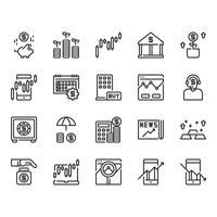 Mercado de ações e investimento conjunto de ícones