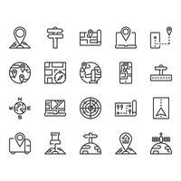Conjunto de ícones de mapa e navegação