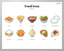 Pacote de ícones de comida plana vetor