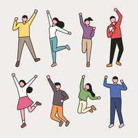 Jovens pulando de alegria vetor