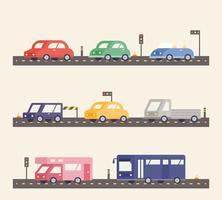 Uma grande variedade de carros na estrada vetor