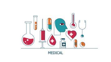 Cuidados de saúde e conjunto de ícones médicos