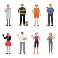 Conjunto de caracteres vestindo uniformes por ocupação